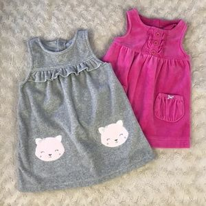 Carter's Jumper Dress Bundle 9 Months Pink Gray